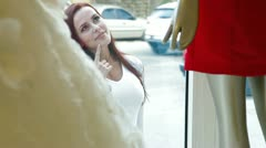 Female Window Shopping Stock Footage