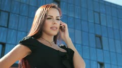 Bussines Woman On The Phone in Downtown Stock Footage