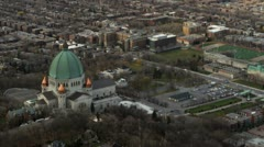 St.Joseph Oratory in Montreal from the air Stock Footage