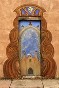 art new mexico latino hispanic santa fe downtown - stock photo