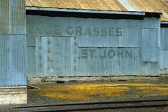 washington whitman john grain silo grasses rr - stock photo