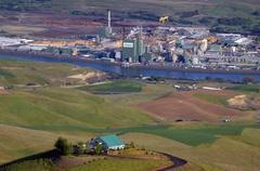 Idaho nez perce lewiston power lines lumber mill Stock Photos