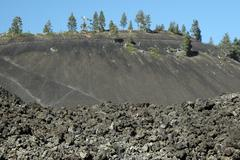 fire oregon deschutes lave butte cinder cone - stock photo