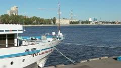 "Passenger cruise ship ""Pyotr Tchaikovsky"" is moored in Saint-Petersburg Stock Footage"
