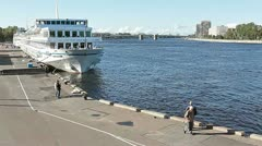 Passenger cruise ships in Saint-Petersburg quay, Russia Stock Footage
