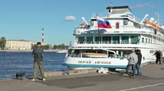 People fishing on city quay in Saint-Petersburg, Russia Stock Footage