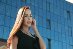 Bussines Woman On The Phone Outdoors - stock footage