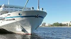 "Passenger cruise ship ""Pyotr Tchaikovsky"" in Saint-Petersburg, Russia Stock Footage"