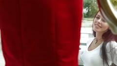 Female Window Shopping Stock Footage
