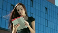 Young Woman with Digital Tablet in Downtown Stock Footage