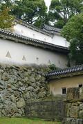 japan honshu himeji castle walls approach 1609 - stock photo