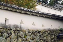 japan honshu himeji castle 1609 walls approach - stock photo