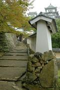 japan honshu himeji castle walls approach buffet - stock photo
