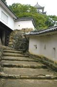 japan honshu himeji castle walls approach view - stock photo