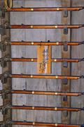 japan honshu himeji castle weapons rack muskets - stock photo