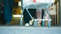 Supermarket Shoppers Stock Footage