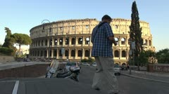 Traffic near Colliseum in Rome, Italy - stock footage