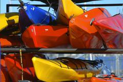 Stock Photo of washington seattle magnusson park lake kayaks