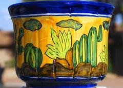 ceramic pot cactus desert flora accessory aspect - stock photo