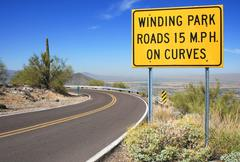 arizona phoenix south mountain park winding - stock photo