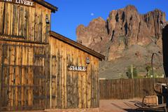 arizona apache junction mountains stables old - stock photo