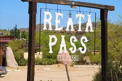 arizona scottsdale reata pass sign admonition - stock photo