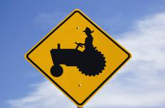Hispanic farmer crossing sign latiino mexican Stock Photos