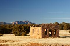 Stock Photo of house adobe ruin abode hermits peak new mexico
