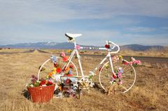 Descansos new mexico hispanic exhibit bike grave Stock Photos