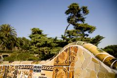 Mozaik in Parc Guell in Barcelona. Spain. Stock Photos
