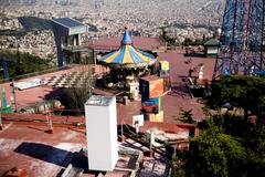 Carousel at Tibidabo in Barcelona. Spain. Amusement park. Stock Photos