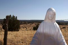 virgin de quadalupe holy mother statue cemetary - stock photo