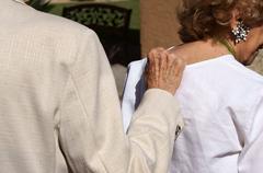 Couple walk closeup hand elderly affection love Stock Photos