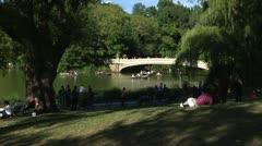 Central Park bridge over lake 1 Stock Footage