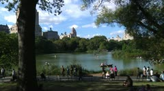 Central Park Lake and city sky line 2 Stock Footage