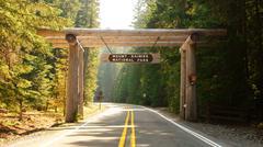 Mount mt. mt ranier national park entrance gate Stock Photos