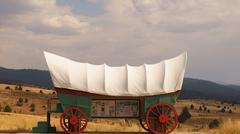 Model conestoga wagon exhibit 10 miles east city Stock Photos