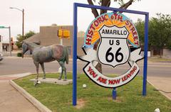 6th street st sixth amarillo historic route 66 - stock photo