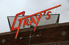 grays bar sign amarillo texas tx historic route - stock photo