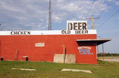 Chicken old deer sign yukon oklahoma ok route 66 Stock Photos