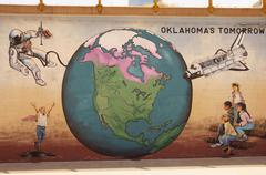 bricktown mural tomorrow globe astronaut kids ok - stock photo