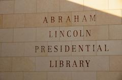 engraved sign abraham lincoln library illinois - stock photo