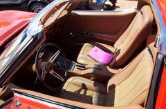 Closeup of vintage corvete interior auto car Stock Photos
