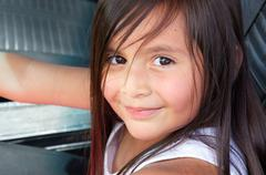 Girl child kid beauty cute hispanic smile route Stock Photos