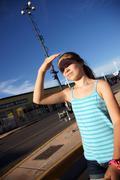 Girl squinting child kid person sun teen teens Stock Photos