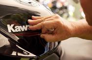 Kawasaki cycle detailing closeup detail paint Stock Photos