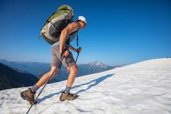 hike in north cascades - stock photo