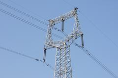 High voltage transmission lines Stock Photos