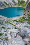 Stock Photo of imotski blue lake in limestone crater near split, croatia