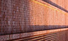 long brick wall - stock photo